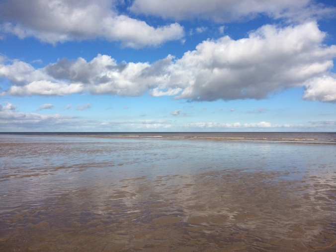 Deserted Anderby Creek beach and a blue, blue sky.