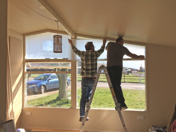 The frosted effect being fitted to the the south facing 1950s window.