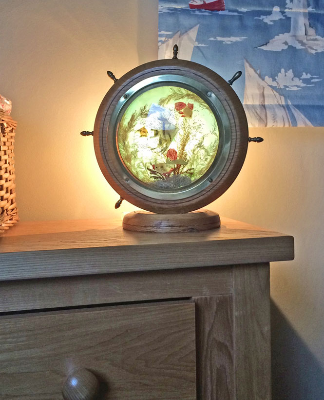 This kitsch 1950s nautical lamp is just one of many original touches in Seaside Lodge